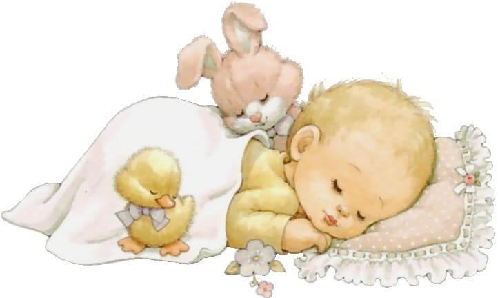 Baby slaapt met knuffels