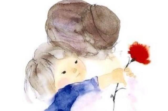 Kleindochter geeft oma een knuffel