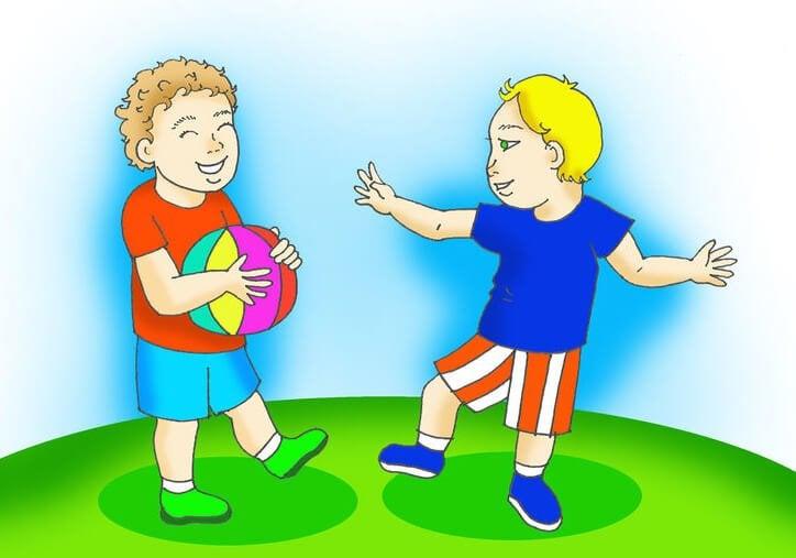 Neefjes spelen met een bal