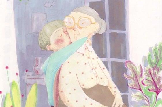 Kleinzoon en oma in een omhelzing