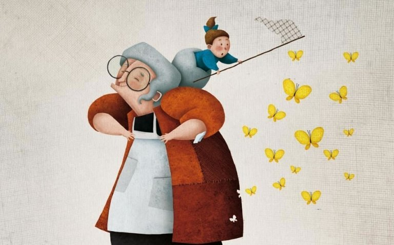 Oma en kleinkind vangen vlinders