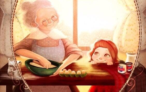 Wanneer een oma haar kleinkind voor de eerste keer ziet