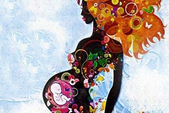 Tekening van een zwangere vrouw