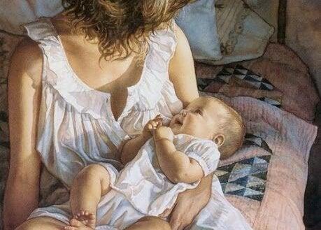 Moeder praat tegen haar baby
