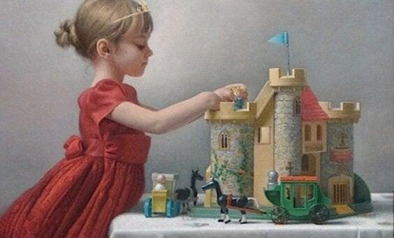 Meisje aan het project kasteel