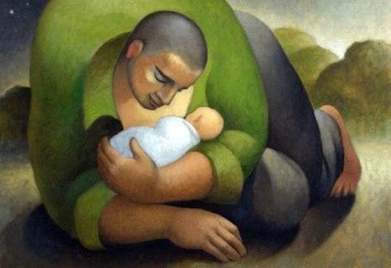 Vader en baby zoon in het heden