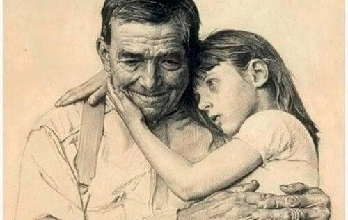 Opa met kleindochter op schoot