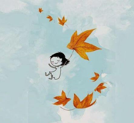 Meisje vliegt met bladeren