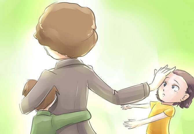 Moeder die haar kind weg duwt