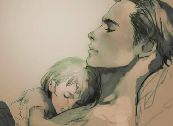 Schilderij vader en dochter