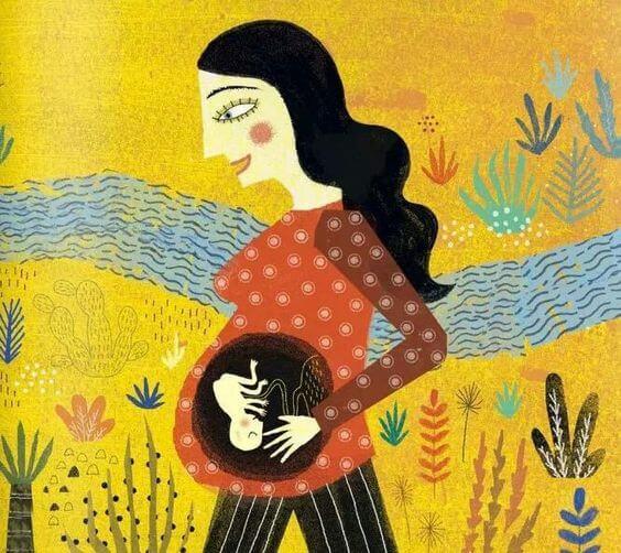 Tekening: moeder met baby in haar buik