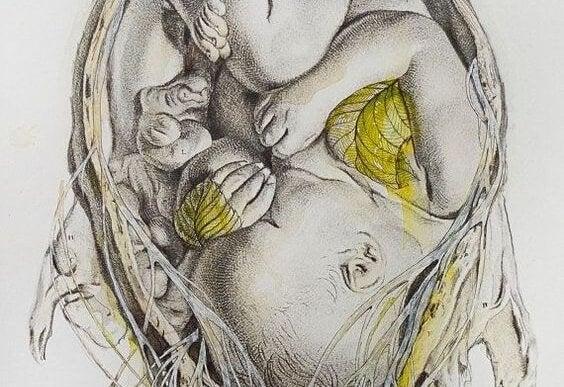 Tekening van jouw baby's thuis