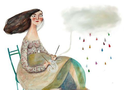 Vrouw met regenwolken van verdriet