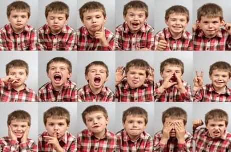 Jongen laat verschillende emoties zien