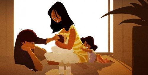 Tekening: ouders met twee kinderen