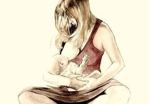 Moeder geeft bortsvoeding tekening