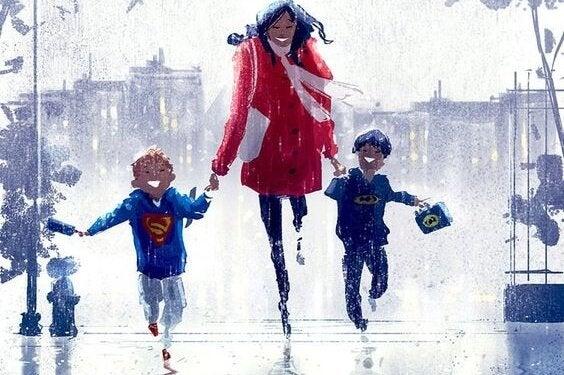Moeder rent met kinderen door de regen