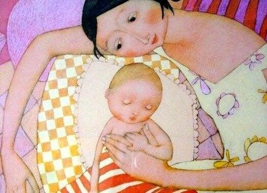 Tekening moeder en kind