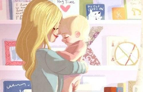 Een alleenstaande moeder knuffelt haar baby