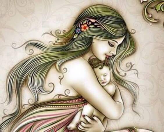 Tekening: moeder omhelst baby