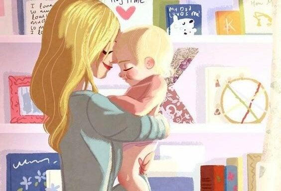Tekening moeder en baby