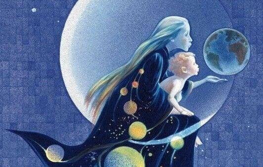 Moeder en kind met de maan en de aarde