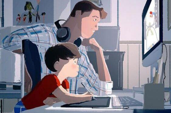 Een goede vader kijkt tv met zijn zoon