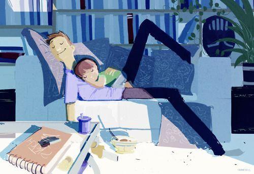 Vader en kind slapen