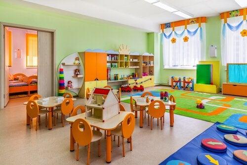 Het klaslokaal volgens de methode van Montessori