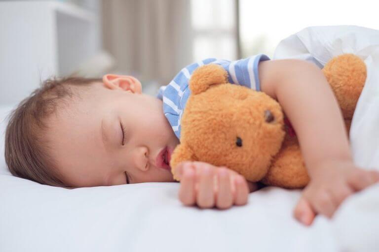 Jongetje slaapt met zijn beertje