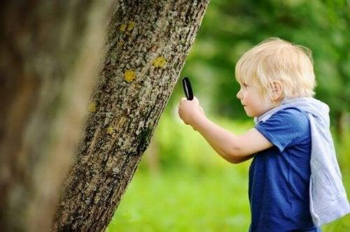 Kind verkent de natuur met een vergrootglas