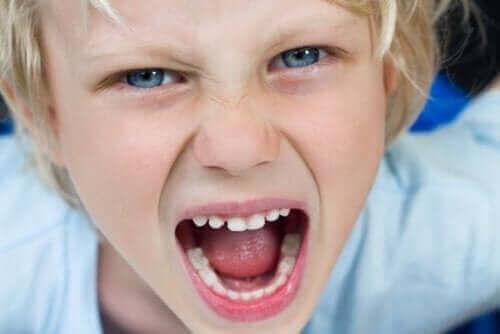 Jongen is aan het schreeuwen