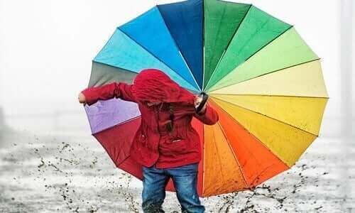 Paraplu met verschillende kleuren