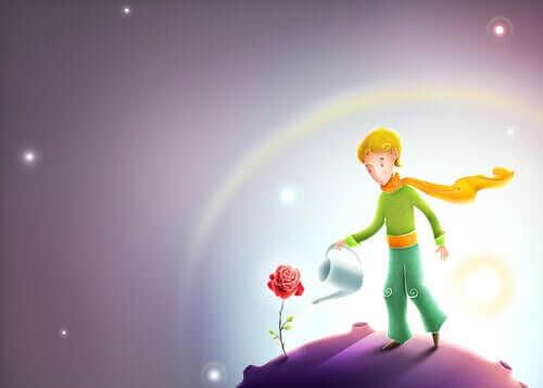 Prins geeft een bloem water