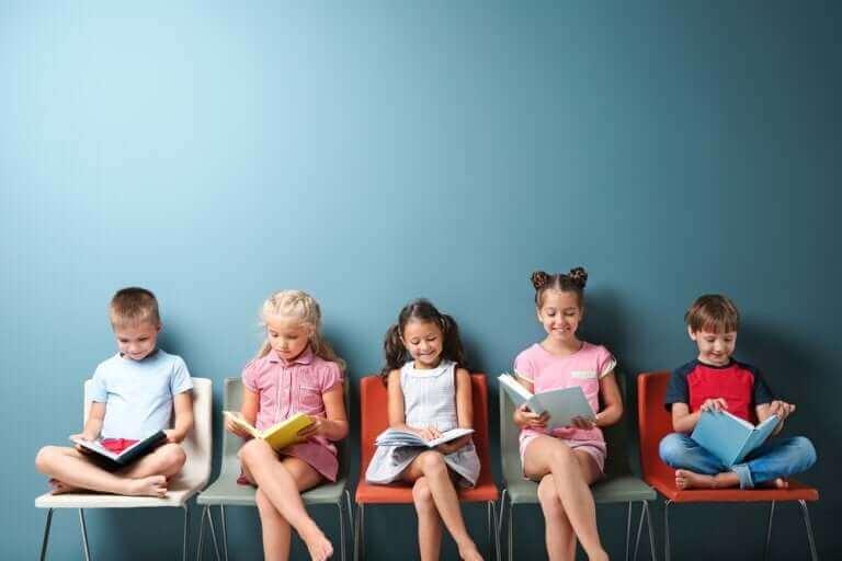 Kinderen die zitten te lezen