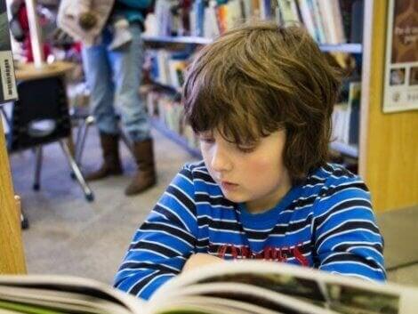 Jongetje leest een boek