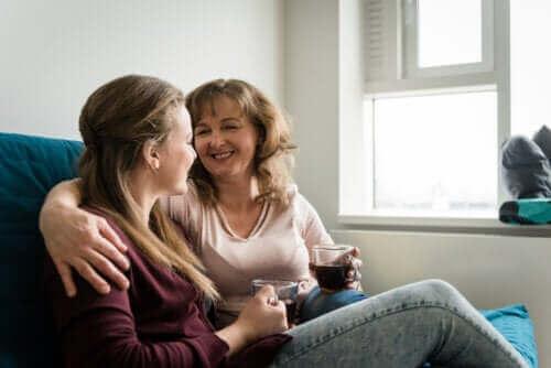 Moeder maakt contacts met dochter