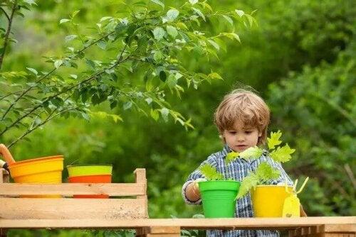 Jongetje zorgt voor planten
